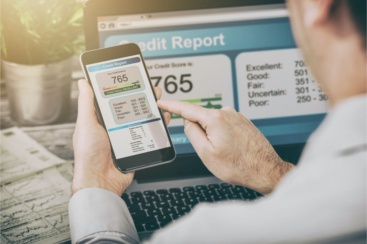 Credit Report showing an excellent score of 765